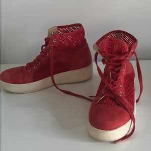 High top red mesh platform sneakers